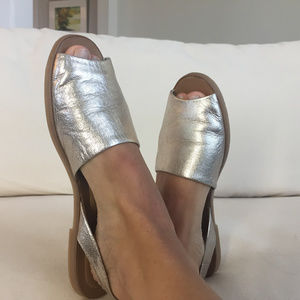 Franco Sarto US 6.5 Silver Leather D'orsay sandals